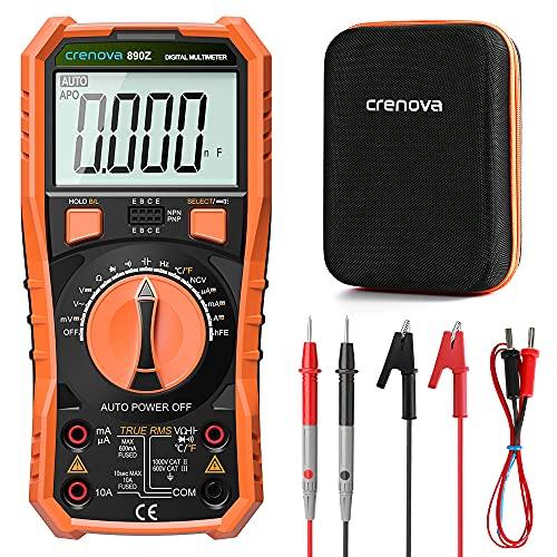 Crenova Digital multimeter, TRMS Voltmeter Ammeter Auto-Range 6000 Zähler Ohmmeter, misst Spannung Kapazität Temp Wiederstand mit Large LCD-Anzeige und Hintergrundlicht, for Automotive, Elektriker