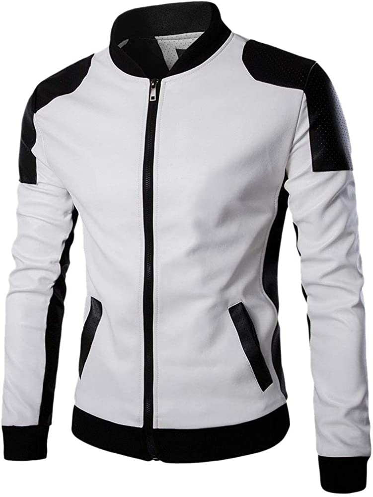 Men's Free Shipping New Faux Leather Oakland Mall Motorcycle Jackets Classic Color Block Bomber