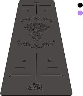 Fair Soul - Esterilla de Yoga en Caucho Natural con Sistema de Alineación y Gráficos 'Elephant'. Superficie Antideslizante. Agarre máximo. El mas grande 183cm X 68cm. espesor 5mm. Yoga-Bag Incluida.