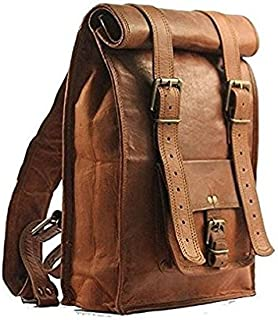 TUZECH Unisex Real Leather Office/College Mini Backpack For Books,iPad- Fits Laptop