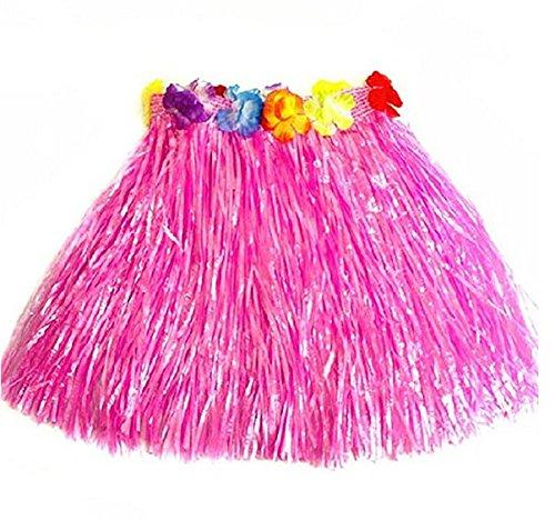 Demarkt Children Hawaiian Hula Skirt Girl Hula Skirt Grass Lei Garland Set for Beach party Skirt Clothes Sport Games Cheerleading Clothing for Kids Baby Show Suit Pink(30CM)