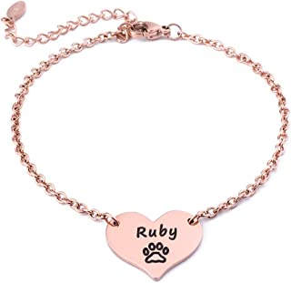 Personalized Dog Memorial Gifts - Rose Gold Memorial Link Bracelet Engraved Custom Dogs Name Loss of Pet Gifts Sympathy Gifts Jewelry for Women