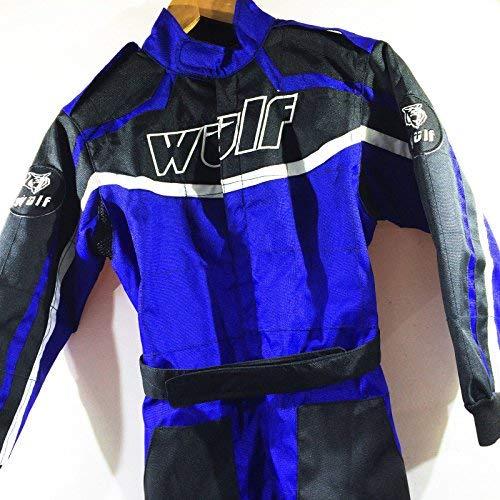Kinder Kart Anzug WULFSPORT Kinder Hosen + Jersey MX ATV Quad Anzug (S (5-6 Jahre), Blau)