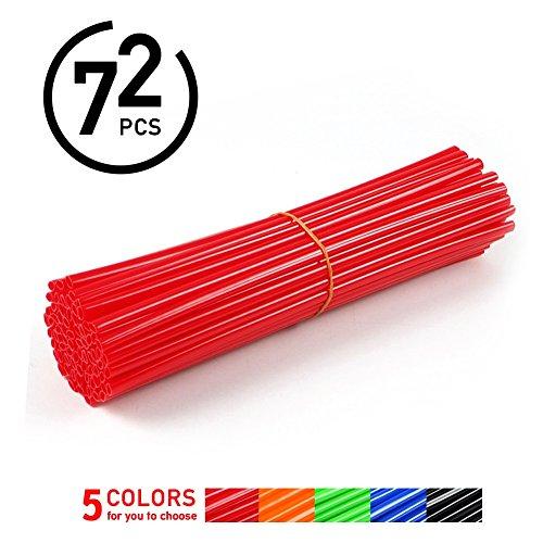 72Pcs Spoke Skins Cubierta del Radio de Rueda de Motocicleta para Motocross Bicis de la Suciedad - Tubo de Cubierta para Rayo Llantas 5 Colores ( Color : Rojo )