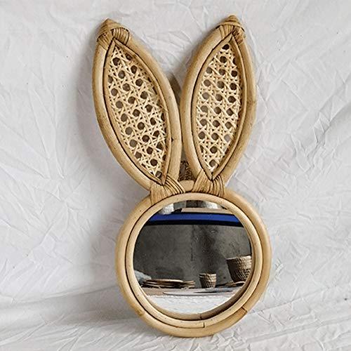 Éponte Miroir tissage naturel rotin Lapin style Miroir rond pour la maison Décoration Miroirs salle à montage mural