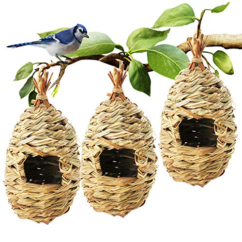 Hummingbird Bird House,Natural Fiber Grass Bird House Set of 3,Hand Woven Hummingbird Hut,Hanging Birdhouse for Outdoors,Teardrop Shaped Birds Nest,Small Bird Nest for Audubon Finch Canary Chickadee