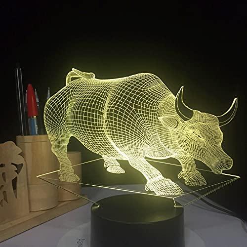 ZBHW Lámpara de Vaca de Toro USB 7 Colores Cambió la lámpara de Mesa táctil para bebé Lámpara para Dormir 3D Decoración para el hogar Luz de Escritorio Luz Lámpara 3D Creative Kids Regalo