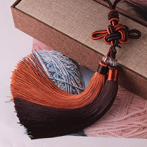 weichuang Handmade Silky Tassels Mixed Colors Chinese Knots Ice Silk Tassels For DIY Jewelry Home Curtain Sewing Accessories Car Key Bag Pendant Craft Tassel (Color : Brown Shallow brown)