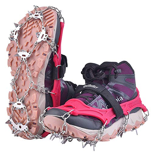 Uelfbaby Ice Snow Grips Traction Cleats Women's Crampons System Safe Protect for Walking, Jogging, or Hiking on Snow and Ice Rose red, Large