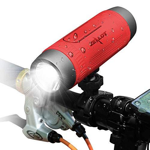 Bluetooth Lautsprecher, Zealot Portable Bluetooth Speaker mit LED Taschenlampe, Wasserdicht, Power Bank, Freisprechfunktion für Fahrrad, Reise (Rot)