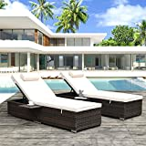 kupet Outdoor PE Wicker Chaise Lounge Set 2 Piece Rattan Reclining Chairs, with Side Table and Head Pillow, Adjustable Backrest, for Beach, Poolside, Yard, Beige