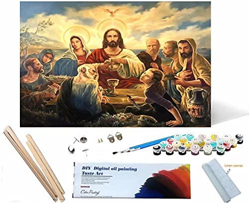 Beaxqb {Cornice Fai da Te} Dipingere con i Numeri Kit Cultura Religiosa DIY Acrilico Dipinto Kit per Adulti e Bambini con pennelli Decorazioni Decorazioni Regali 30x40cm