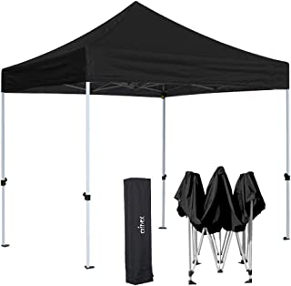 CRINEX 10x10 Canopy Tent, Black Ez Pop Up Canopy Tent Commercial Instant Shelter with Carry Bag, Ideal for Outdoor Party BBQ and Sports Commercial Activity
