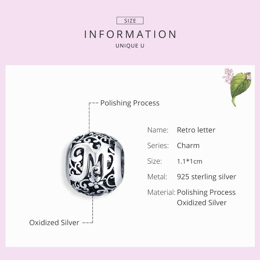 Qings Letter Alphabet Beads Charms for Jewelley Making 925 Sterling Silver A-Z Letter Initial Beads DIY Beads Charms for Bracelets Bangles Necklaces