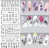 1 hoja de pegatinas geométricas de agua para transferencia de línea de uñas, arte de uñas, sellos de agua, toboganes de agua
