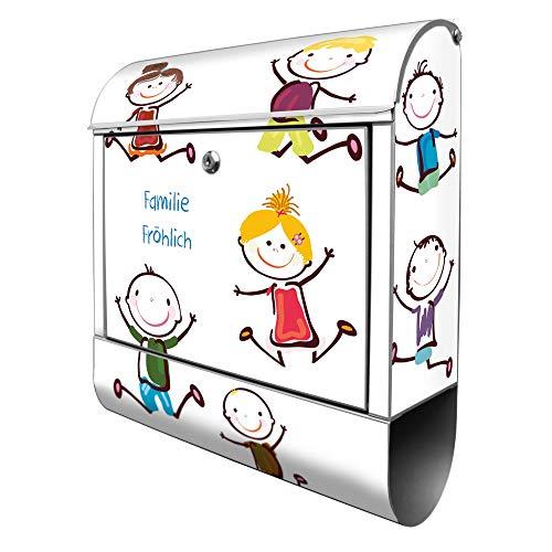 Banjado Design Briefkasten personalisiert mit Motiv Happy Kids   Stahl pulverbeschichtet mit Zeitungsrolle   Größe 39x47x14cm, 2 Schlüssel, A4 Einwurf, inkl. Montagematerial