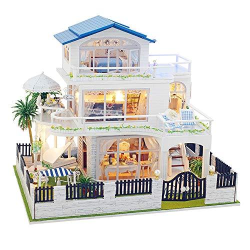 CaoQuanBaiHuoDian Kinder Bausteine  Miniatur-Puppenhaus aus Holz handgemachte Puppenhaus Miniatur DIY Kit hölzernen Puppe-Haus und Möbel/Teile for Kinder Lernspielzeug