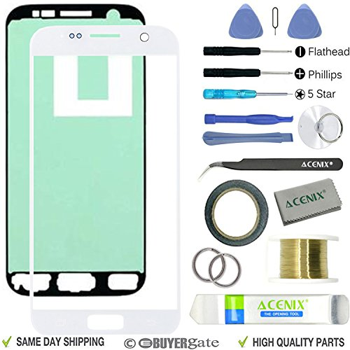 ACENIX® voorste glas buitenste vervanging scherm Lens Reparatie Kit voor Galaxy S7 wit + 2mm Tape en Opening Pry Tools