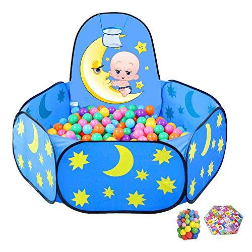ZPLHX Playpen Playing Baby Playpen con Bolas y aro de Baloncesto, colchón de niños pequeños, Interior/Exterior Cerca de niños Azules para mamá y bebé (Color : -, Size : -)