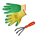 TrustBasket Gardening Gloves and Hand Garden Cultivator (Multicolour, Pack of 3)