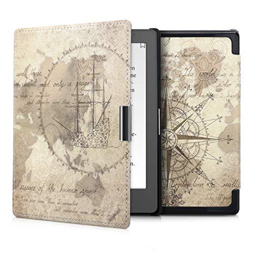 kwmobile Custodia compatibile con Kobo Aura Edition 1 - Cover in simil pelle magnetica Flip Case per eReader marrone/marrone chiaro