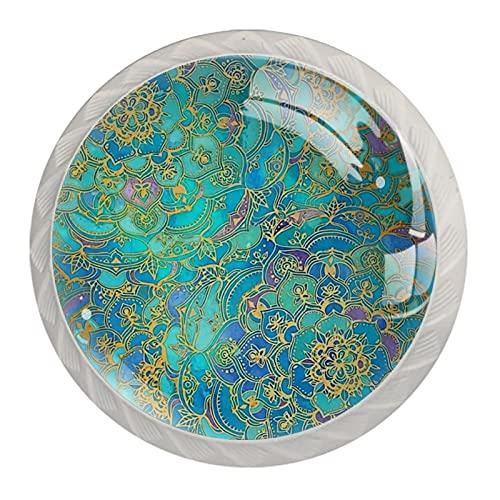 Mandalas de cristal de zafiro y jade para pomos de cocina de cristal transparente para armarios de cocina, aparador, armario, baño, armario