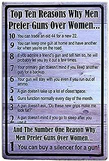 Everett Goodman Home Decor - Vintage Plaque Top Ten Reasons Why Men Prefer Guns Over Women.8x12 Inch Metal Tin Sign Wall Poster Wall Bar Garage Home Mural Decor