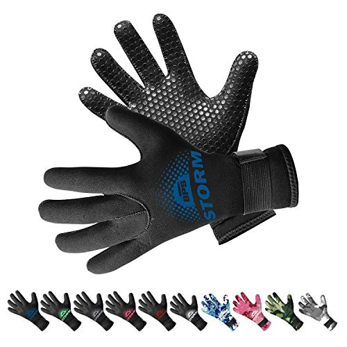 BPS 3mm Neoprene Dive Gloves with Anti Slip Palm - Five Finger Gloves for Sailing, Spearfishing, Paddleboarding, and Other Water Activities - for Men and Women (Black/Snorkel Blue, XL)