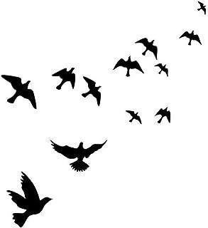 Jcnfa-pegatina de pared De Silueta De Pájaro con Pájaro Negro, Paloma Blanca, Cien Aves Se Enfrentan Al Fénix, Cafetería D...