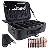 OEWOER Makeup Travel Case - Large Makeup Bag 16 Inches Professional PU Leather Makeup Case with Adjustable Strap, Leather Makeup Artist Box for Hair Curler Hair Straightener Brush Set and Cosmetics