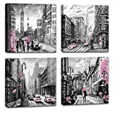Black and White Nostalgic City Street View Pink Theme car and Phone Booth Wall Art for Bedroom Big Ben Oil Painting on Canvas Romantic Picture Artwork Prints for Wall Decor Paris Wall Art