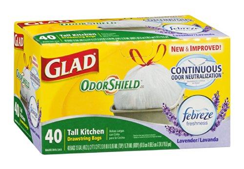 Glad OdorShield トールキッチン巾着ゴミ袋 - ファブリーズ 地中海ラベンダー 13ガロン 40枚入り6パック