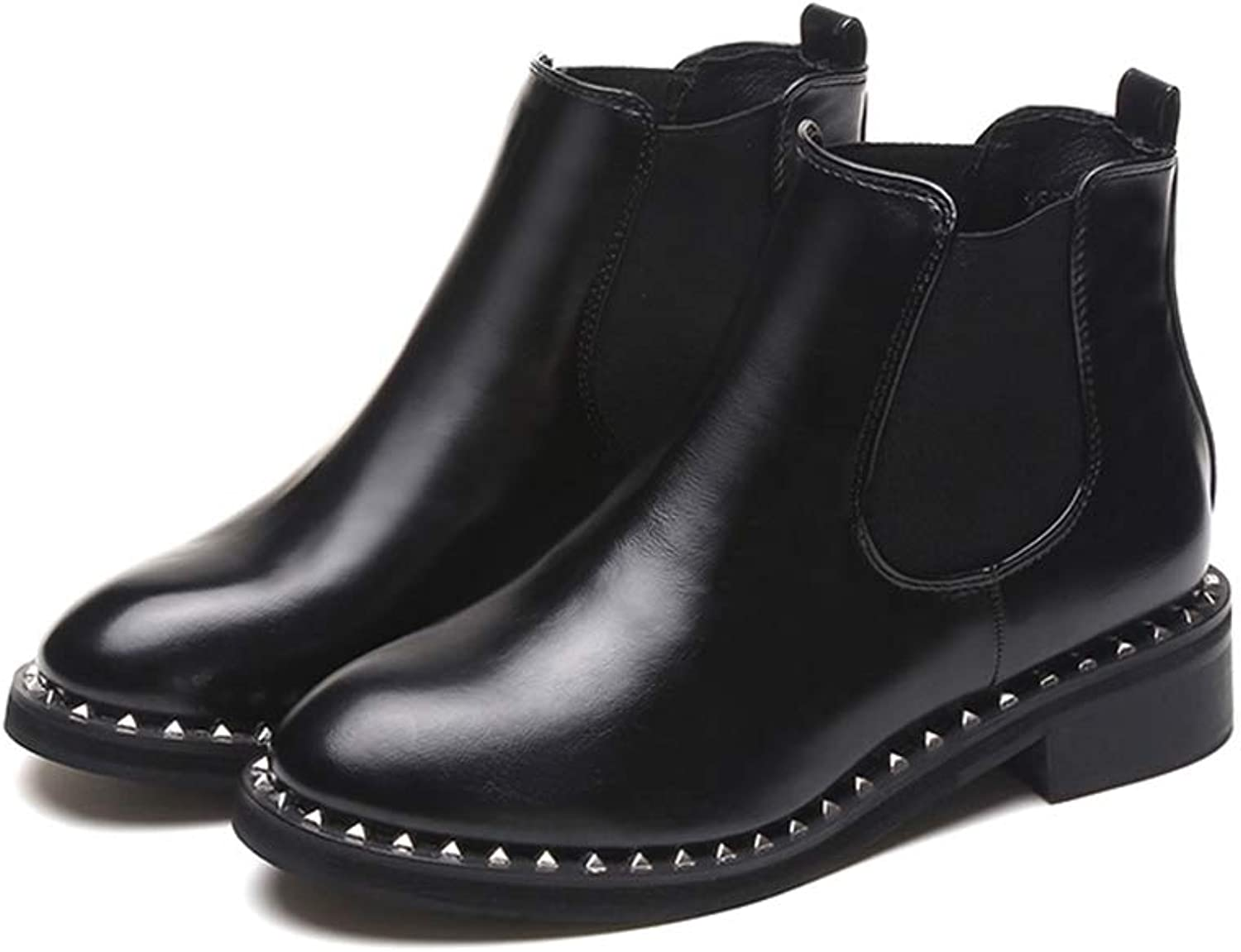 T-JULY Women's Autumn Rivet Chelsea Boots Leather Ankle Boots Girls Chunky Rubber Low Heels Booties