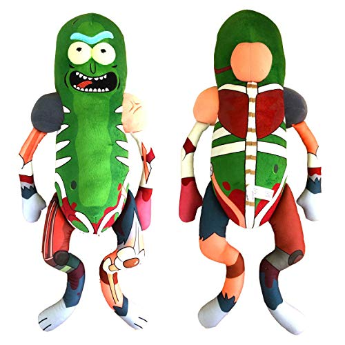 Pickle Rick Plush Doll 18 inch Rat Suit with 8-Bit Pixel Galactic Sunglasses Bundle