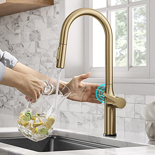 Kraus KTF-3101BG Oletto ContemporarySingle-HandleTouch KitchenSink Faucet with Pull Down Sprayer, Brushed Gold