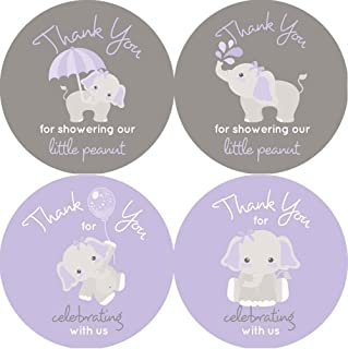 2 Inch Thank You Stickers Gray Elephant Set of 60 (Purple)