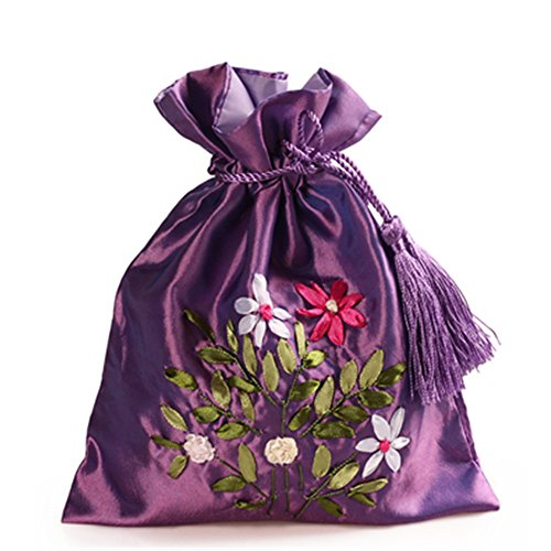 "2500 Silk Brocade Double Layer Pouch Drawstring Coin Purse Gift Candy Bag H8.3"" W7.1"" 12pcs/set SND006"