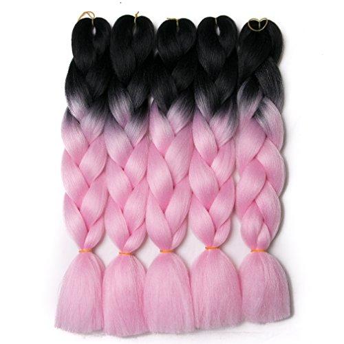 Lady Corner Ombre Braiding Hair 24inch Jumbo Braids High Temperature Fiber Synthetic Hair Extension 5pcs/Lot 100g/pc for Twist Braiding Hair (black/pink)