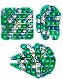 3 Pack Rainbow Pops Bubble Fidget Push Sensory Toys, Tie Dye Starship Human Shape Office Sensory Fidget Toys