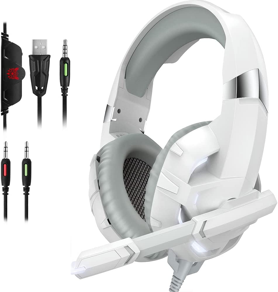 DIOWING Gaming Headset PC Gaming Headset with 7.1 Surround Sound Stereo, Xbox One Headset with Noise Canceling Mic & LED Light, Compatible with Xbox One, PS3, PS4, PS5, PC, Sega Game Gear (White)