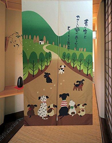 Cortina de puerta japonesa Noren para decoración del hogar, de LIGICKY, poliéster y mezcla de poliéster, Familia de perros felices, 33.5'' x 59''