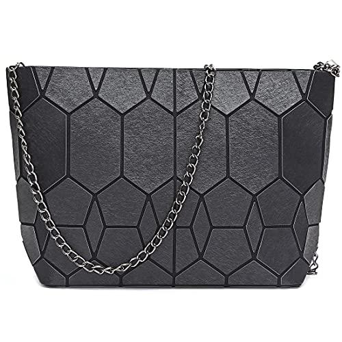 Hot One Bolso de hombro geométrico con cadena para mujer, bolsos de mujer (9 # negro metálico)