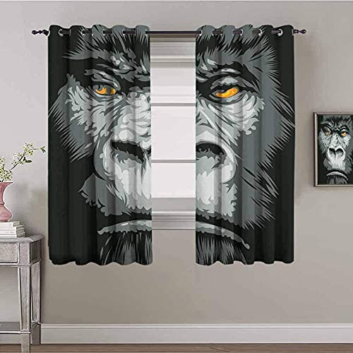 MENGBB Blackout Curtain for Kids Girls Microfiber - Black orangutan animal fashion - Thermal Insulated 95% Blackout - 78x63 inch Kitchen Bedroom Living Room Window Eyelet Curtains