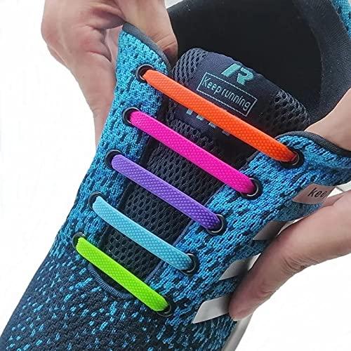 Kit 16 Pçs Cadarços Elásticos de Silicone Unissex Cor Cinza
