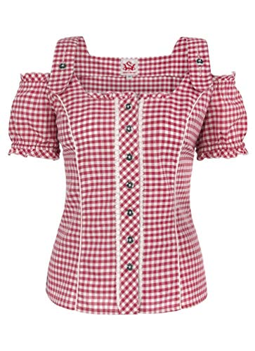 Spieth & Wensky - Damen Trachten Bluse kariert, Pilla (009567-0115), Größe:44, Farbe:Rot/Weiß (2092)
