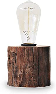 Looxury Industrial Lamp Vintage Edison Bulb with Drift Wood Base - E27/110V/40W Bulb - Adjustable Dimmable Light - Desk Table Lamp Rustic Retro Antique Style