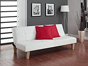 Tufted, white faux leather upholstery with detail stitching Sturdy wood frame that fits in tight spaces Easily Assembled Cleans easily with a damp cloth Converts easily to multiple positions