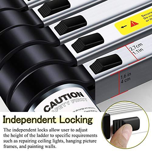 Telescoping Extension Ladder Aluminum Telescopic Foldable Long Extend and Climb Lightweight Ladder EN131 Standard(4.9M/16FT)
