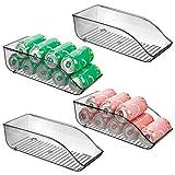 mDesign Juego de 4 cajas de almacenaje para frigorífico y armarios de cocina – Contenedores de plástico con capacidad para 9 latas – Práctico organizador de nevera – gris humo