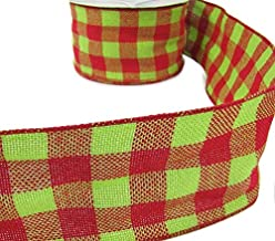 3 Yds Christmas Red Grinch Green Plaid Burlap Jute Like Wired Ribbon Lace Trim Embroidery Applique Fabric Delicate DIY Art Craft Supply for Scrapbooking Gift Wrapping 4